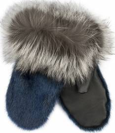 Iluliaq Mittens, Blue w. Leather